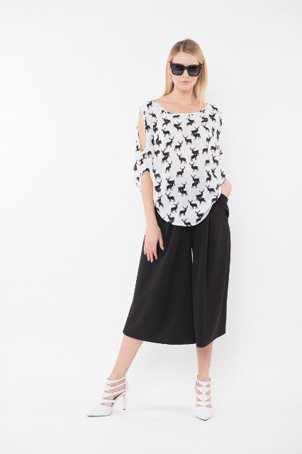 NATALIA Cold Shoulder Top - Black & White