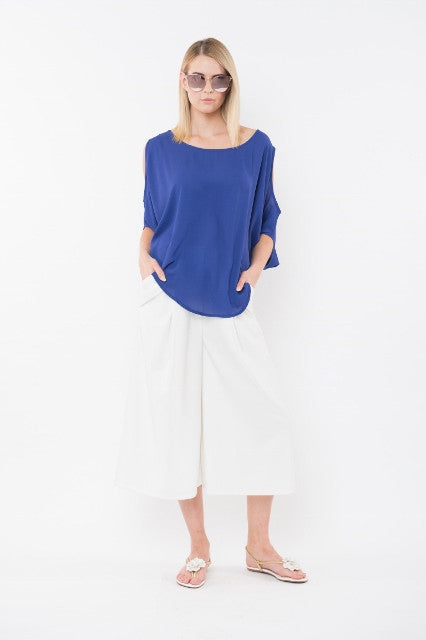 NATALIA Cold Shoulder Top - Cobalt