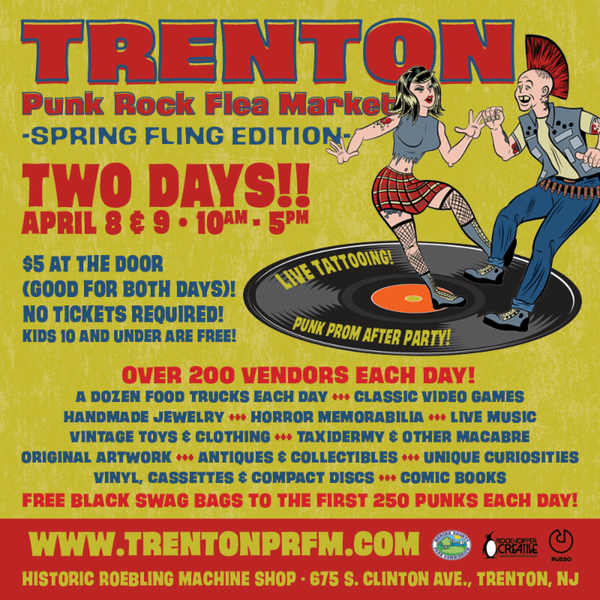 Join us on April 8th at the Trenton Punk Rock Flea Market!