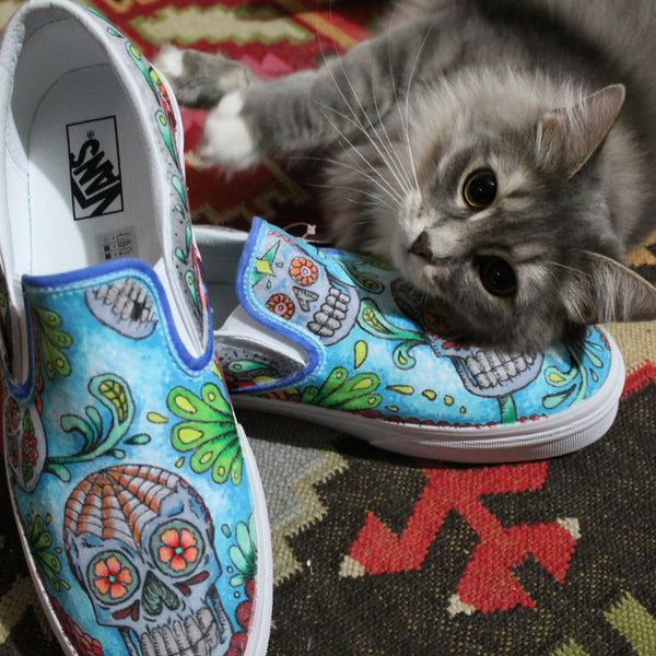 Our newest pair of custom designed Vans Slip On sneakers