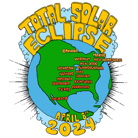 April 8 2024 Total Solar Eclipse shirt design by RadCakes.com with totality path map for sale