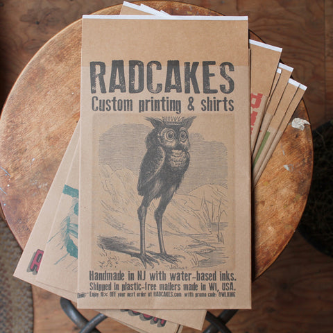 Radcakes Custom Mailer printing with full color custom artwork