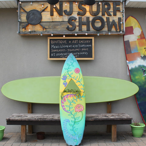 Custom surfboard art by RadCakes for the Manasquan Surf and Art Festival 2017