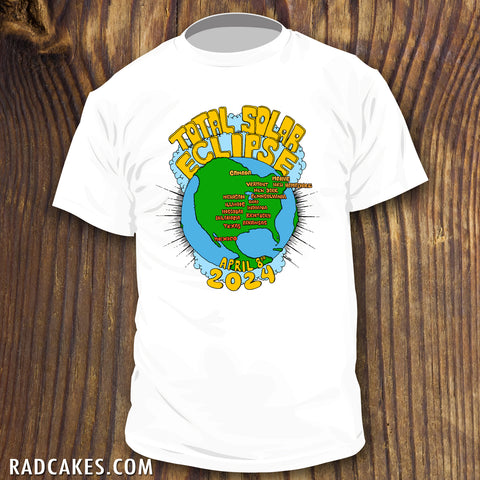 2024 Total Solar Eclipse shirt with cartoon map design by RadCakes.com viewing party souvenir