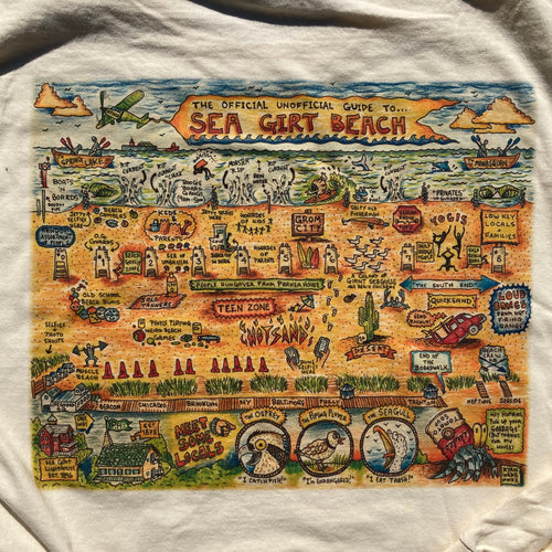 Sea Girt Beach Map shirt art cartoon guide Radcakes Ryan Wade artwork for sale