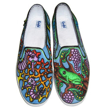 Seahorse and frog with grapes designed Custom Vans classic slip on shoes