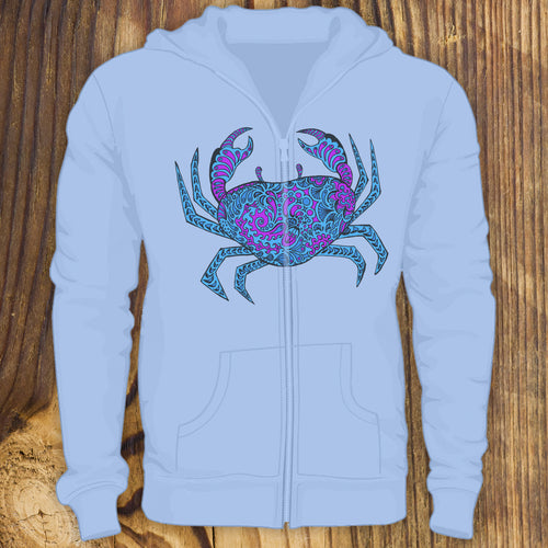 Blue patterned crab design zip up hoodie sweatshirt