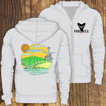 Manasquan Inlet Surf design zip up hoodie sweatshirt with shark tooth design