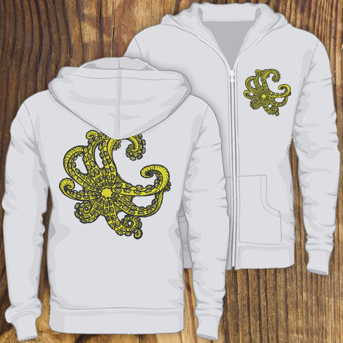 Octopus tentacles design soft zip up hoodie sweatshirt