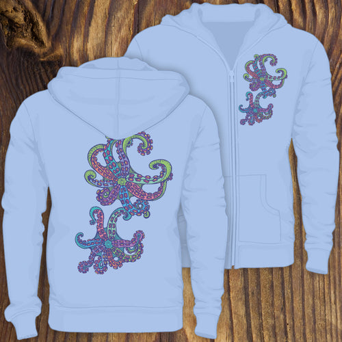 colorful octopus suction cup design zip up hoodie sweatshirt