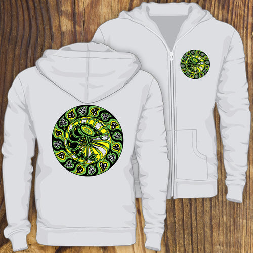 black and green circle shrimp design zip up hoodie sweatshirt