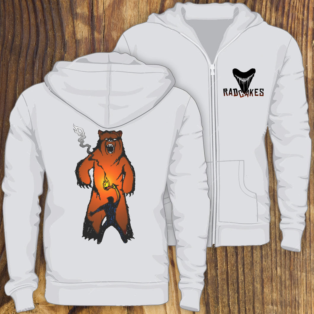 Grizzly bear versus Man hooded sweatshirt design printed by RadCakes, NJ