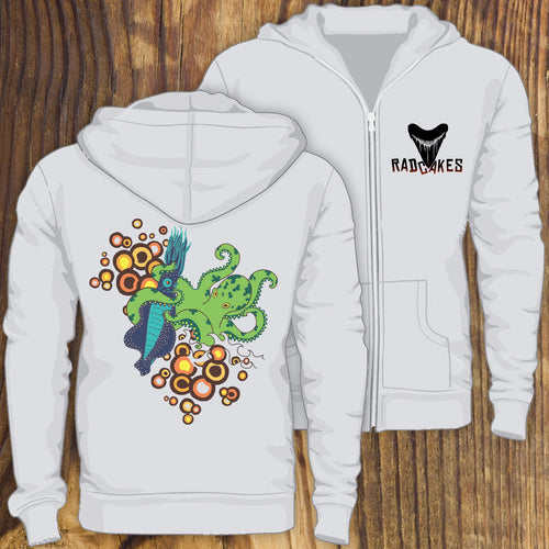 Octopus vs Squid fight sweatshirt design by RadCakes Manasquan NJ