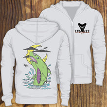 Green zombie shark design zip up hoodie sweatshirt with shark tooth chest design