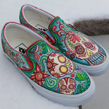 sugar skull custom designed vans slip on sneakers