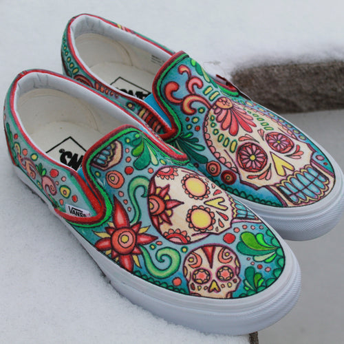 Sugar Skull custom designed Vans sneakers by RadCakes