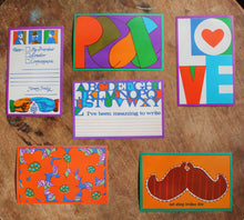 1960s postcards for sale LOVE PEACE MUSTACHE POLITICAL