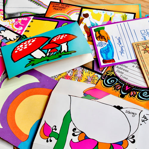 Vintage card collection for sale 1960s Peter max retro Woodstock  postcards design