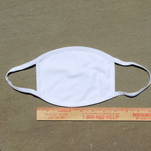 Blank Adult Face Mask: washable 3-ply 100% cotton, Made in USA