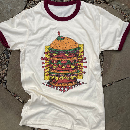 Cheese burger shirt design cheeseburger artwork for sale retro style design