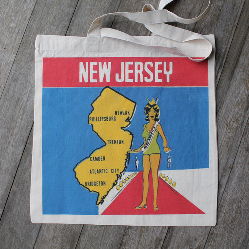 Vintage NJ decal design tote bag with Miss America New Jersey pageant winner