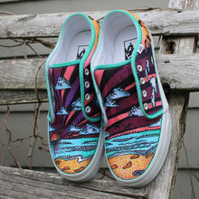 Foot prints in the sand custom designed Vans classic slip on sneakers