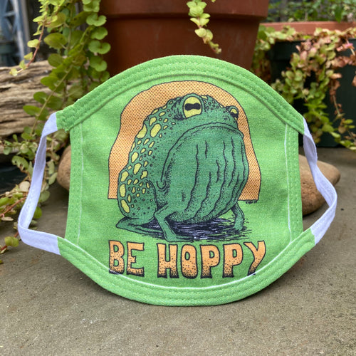 funny frog face mask toad green child sizes be hoppy don't worry be happy