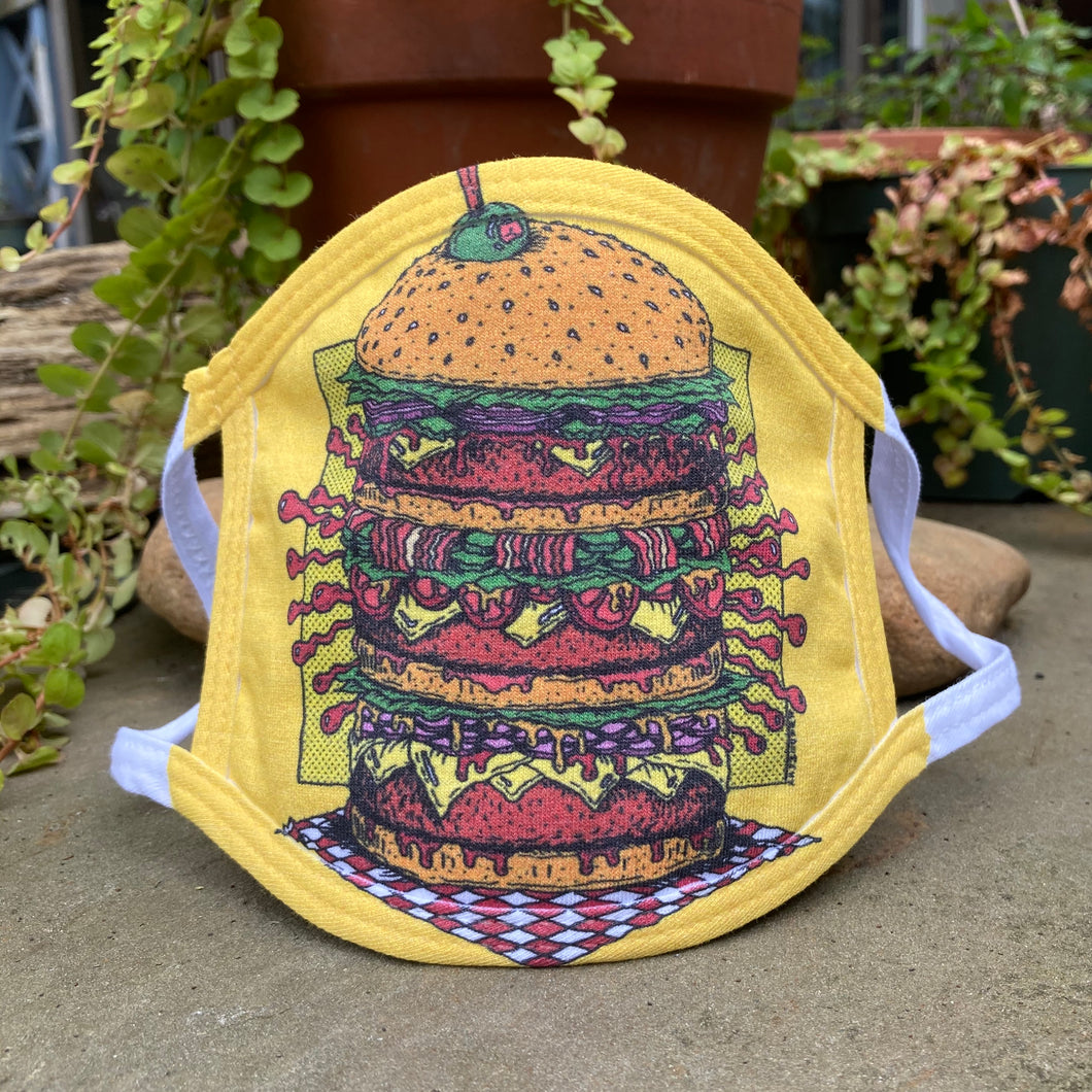 cheeseburger face mask artwork hamburger restaurant uniform face mask funny