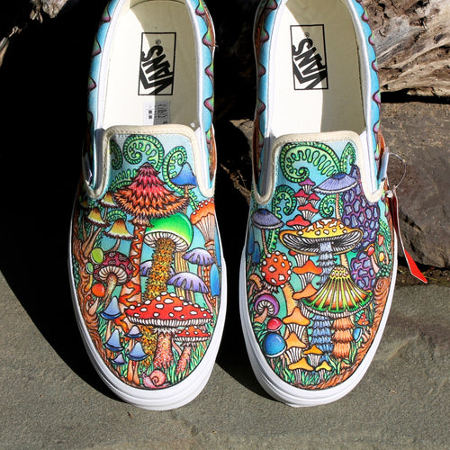The Best Mushroom Shoes on the Internet custom Vans slip on sneakers artwork by Lauren Dalrymple Wade LD WADE
