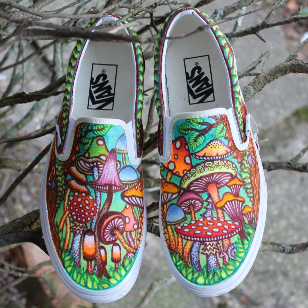 magic mushroom custom vans slip on sneakers shoe art hand drawn by Lauren Dalrymple Wade