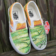custom designed vans slip on sneakers with surf waves artwork