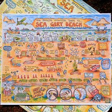 Sea Girt Beach map cartoon art print postcard for sale by Radcakes.com Art by Ryan Wade
