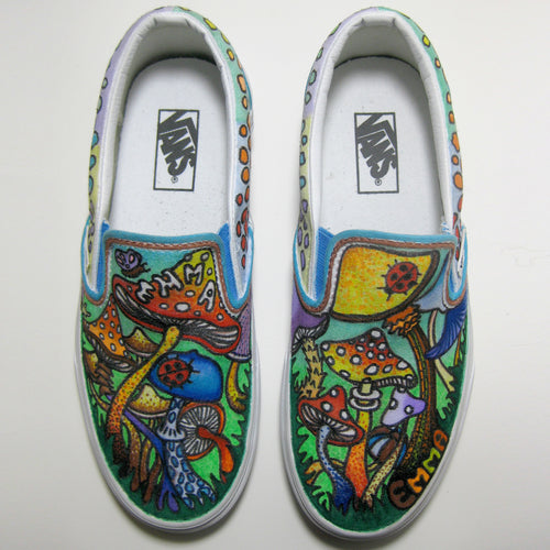custom designed mushroom vans sneakers by lauren dalrymple wade and radcakes