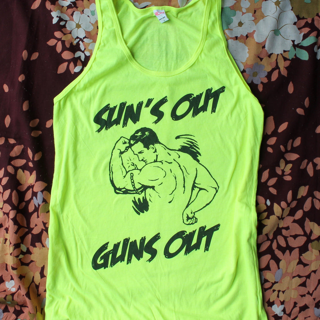 Sun's Out Guns Out tank top (Neon Yellow)