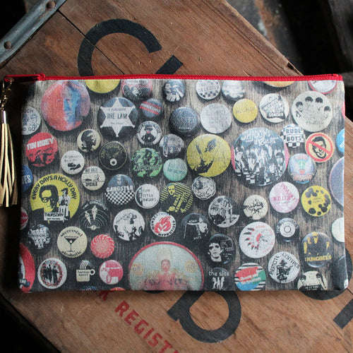 Punk rock pinback button collection handbag clutch new wave fashion accessory