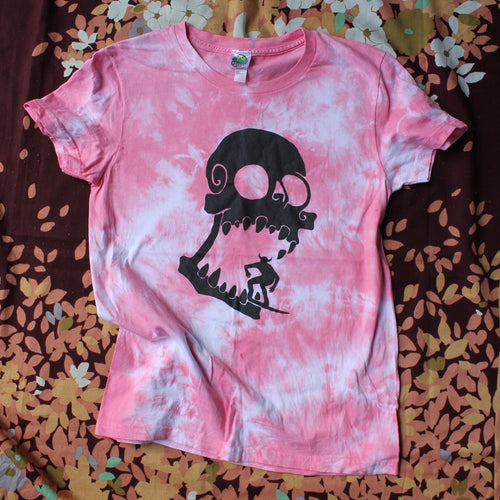 pink tie dye skull shirt women's American apparel retro style for sale