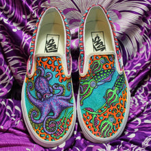 hand drawn octopus art custom vans slip on sneakers for sale at radcakes.com