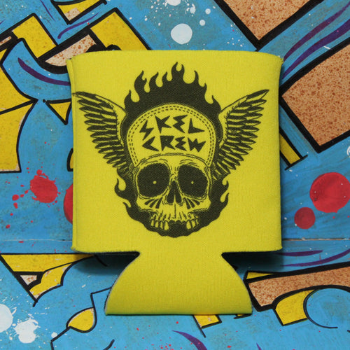 Skeleton Crew beer koozie for sale skull art tattoo style neon