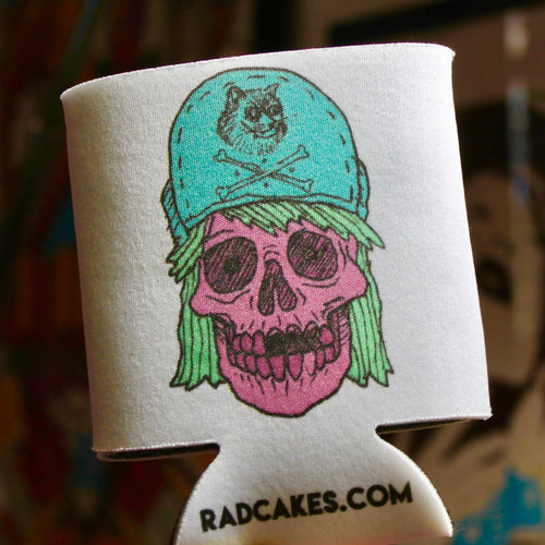 retro style punk rock skull beer koozie by RADCAKES Rad Wayne
