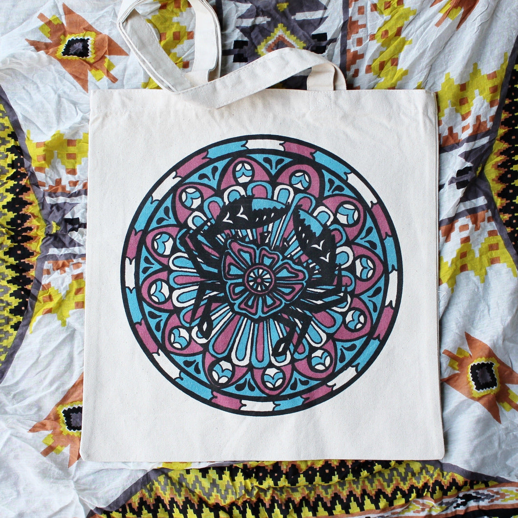 mandala crab art tote bag for sale reusable bag