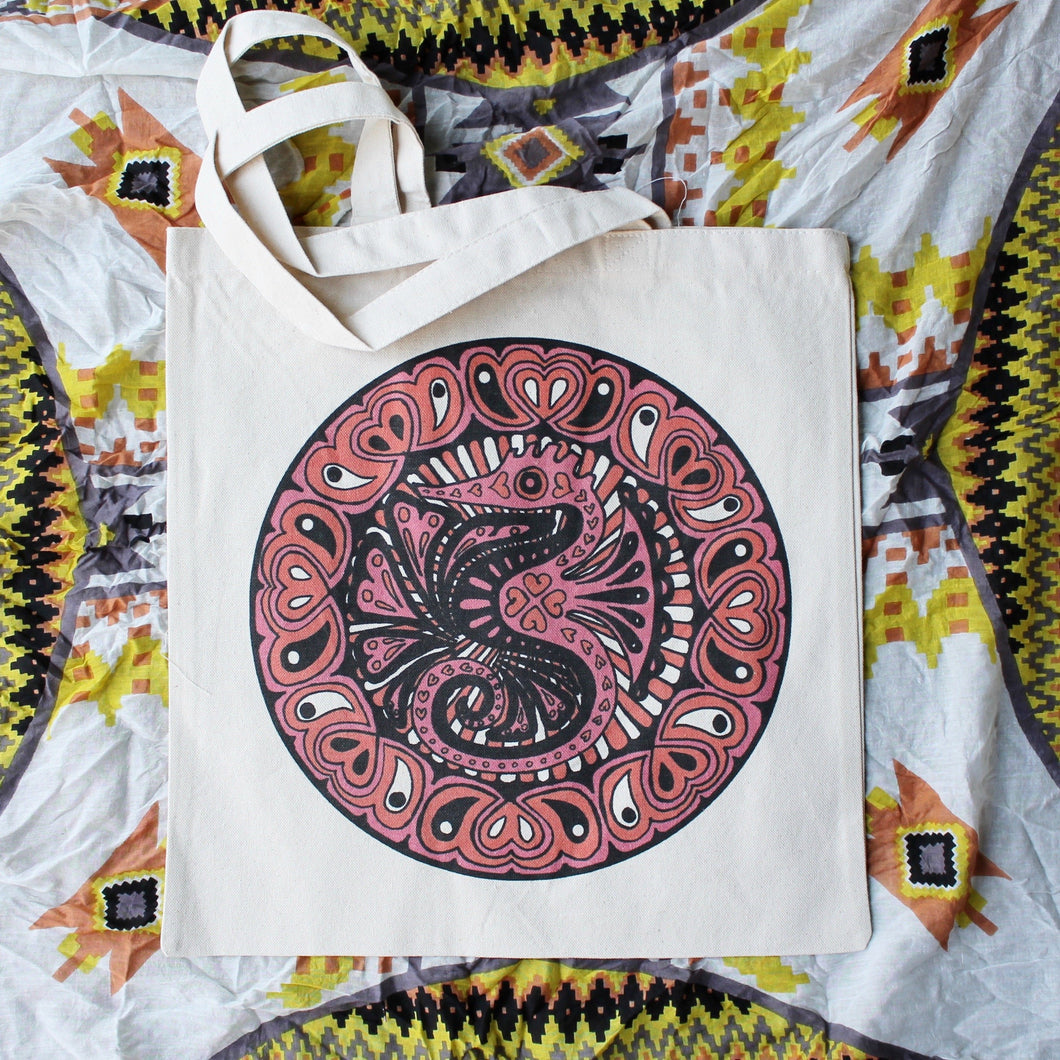 Seahorse artwork reusable tote bag for sale Hand made in the USA