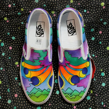 Total Solar Eclipse sneakers hand drawn custom Vans for sale Peter Max style artwork
