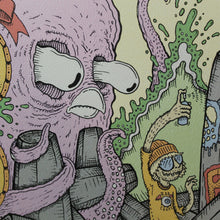 Octopus vs human spray painting graffiti, art print available at radcakes.com