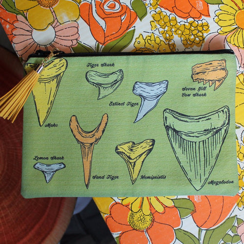 fossil shark tooth identification collecting bag chart design clutch for sale by radcakes