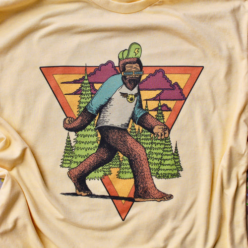 Big Foot shirt psychedelic trippy tshirt design for sale with Sasquatch hipster hiking tee by RYAN WADE