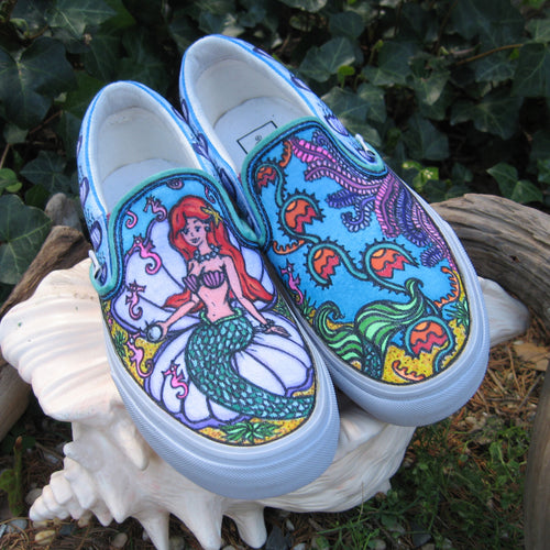 Little Mermaid themed custom Vans by RadCakes art and design Manasquan NJ
