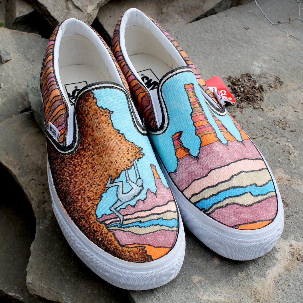rock climbing western style custom designed Vans classic slip on sneakers