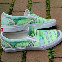 Surfing waves artwork design on custom Vans classic slip on sneakers