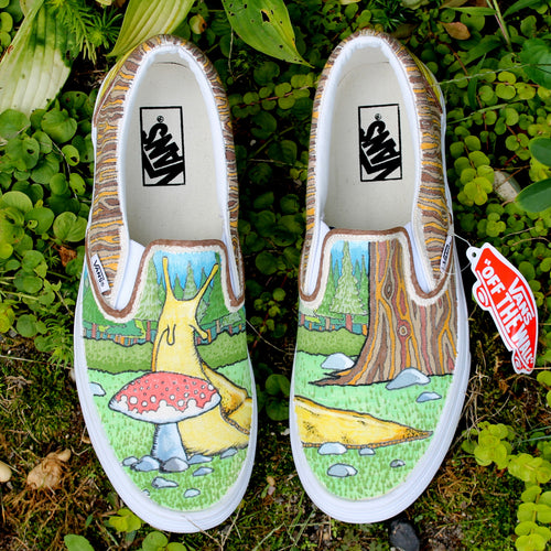 Banana Slug art Custom designed Vans Classic Slip on shoes
