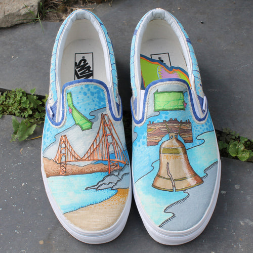 San Francisco and Philadelphia custom designed Vans classic slip on sneakers